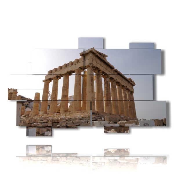 cuadro con fotos antigua Atenas Parthenon