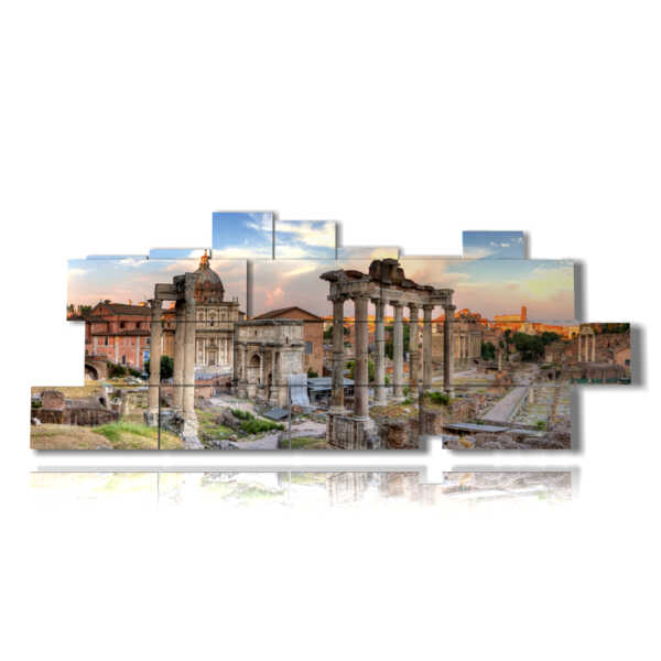 painting panoramic ancient Rome of the Roman Forum
