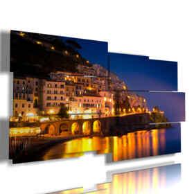 painting with image Italian city - Amalfi