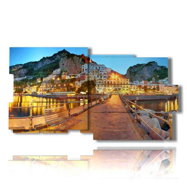 painting with panoramic pictures Italian city - Amalfi