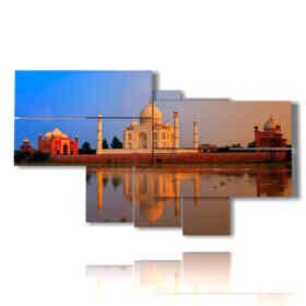 tableaux Inde Taj Mahal vu de la mer dans un coucher de soleil