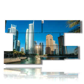 painting with pictures skyscrapers of Dubai