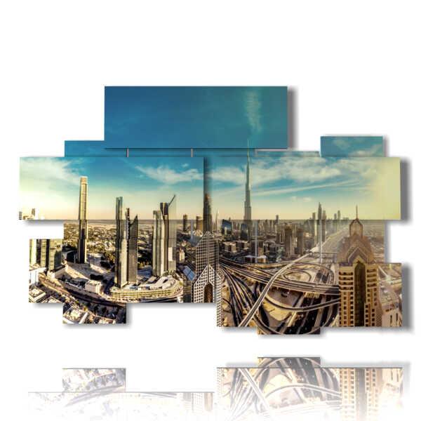 painting with Dubai panoramic photo