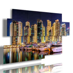 picture with photos of Dubai at night