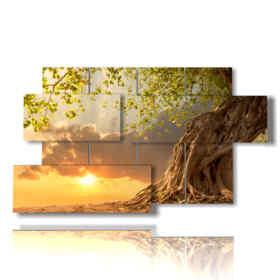 albero quadro al tramonto