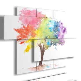 quadro con stampe alberi famosi vaporizzati di colori