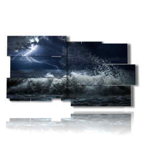 paintings of stormy sea in the magical night