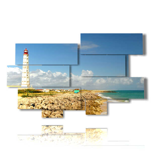 cuadros con el mar y el faro de un día espectacular