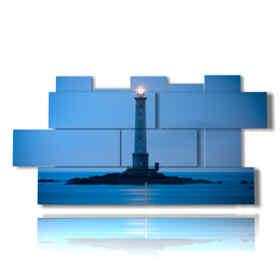 quadro torre faro con luce di notte