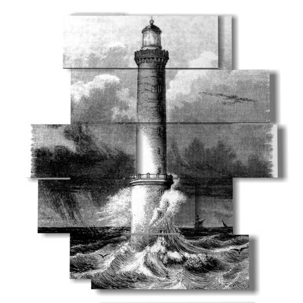 panel with painted lighthouse
