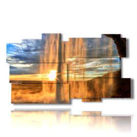 quadro animato cascate al tramonto in Islanda