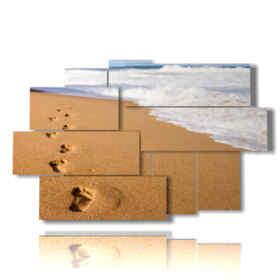 quadri sabbia movimento con orme in riva al mare