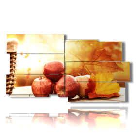 quadro con immagine autunno mele e foglie