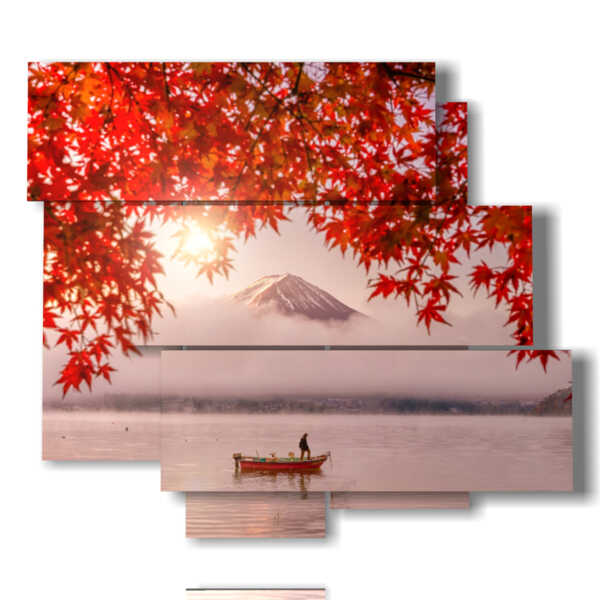 cuadro con fotos en el lago del otoño