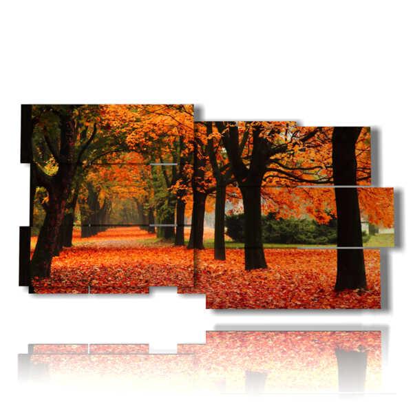 cuadro con el árbol en otoño