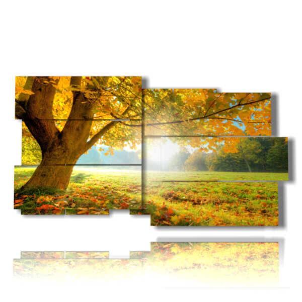 cuadro con imágenes de otoño con buenos días