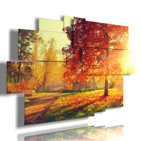 painting in autumn print on canvas