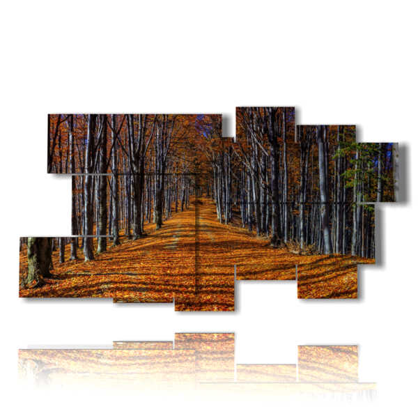 cuadro con diseños impresos otoño