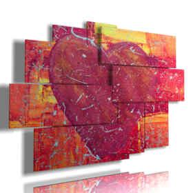 panneau avec le coeur peint sous diverses formes