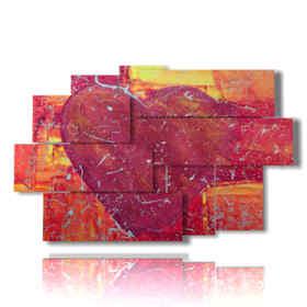 Panel con el corazón pintado en diversas formas
