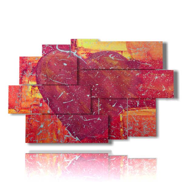 quadro con dipinto cuore in varie forme