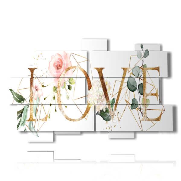 quadri con scritta love e fiori