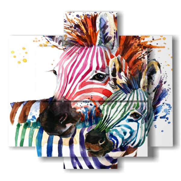 quadri con animali dipinti a colori