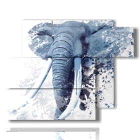 quadro con immagini elefanti stilizzati