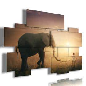 cuadro con elefantes y fotos del bebé