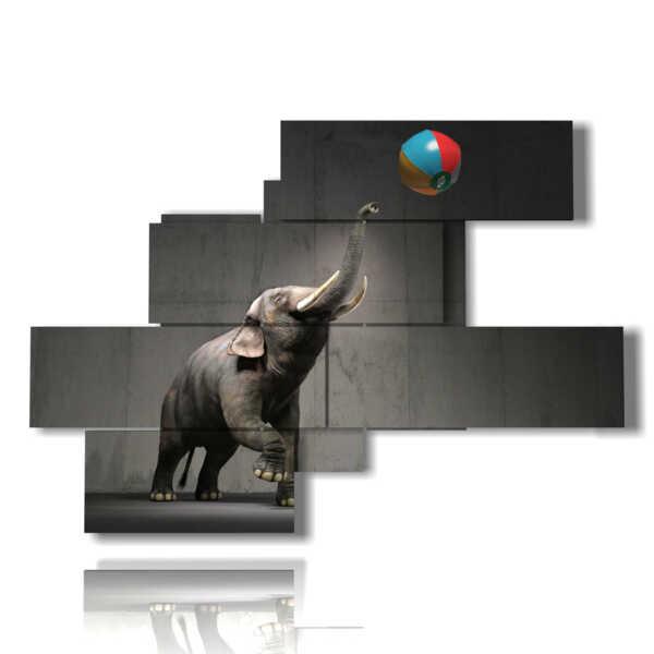cuadro con la foto del elefante y la bola