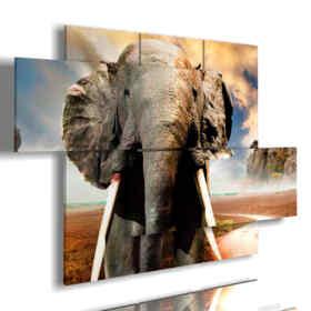 cuadro con imágenes de elefantes africanos