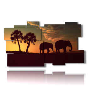 quadro con immagini elefanti