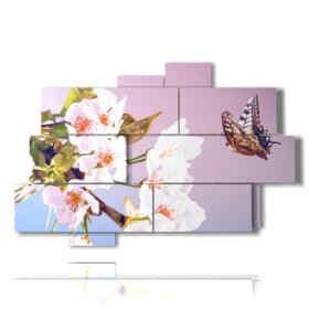 quadri astratti con farfalle in un mazzo di fiori
