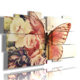 paintings abstract butterflies in rosebuds