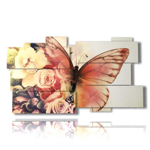 paintings abstract butterflies in rosebuds
