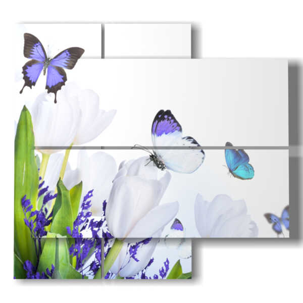 3d picture with butterflies and purple flowers