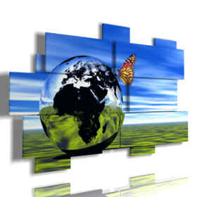 cuadros mariposa 3d en una esfera de mundo