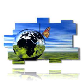 quadri farfalle 3d in una sfera di mondo