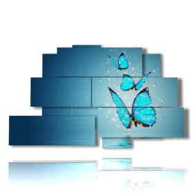 quadri con farfalle moderni polvere azzurra