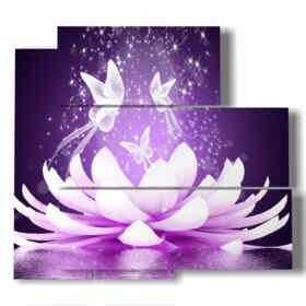 quadri moderni di farfalle su bellissimo fiore di loto