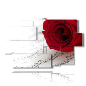 tableaux avec des roses rouges et de la musique