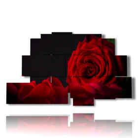 rose-tableaux moderne rouge