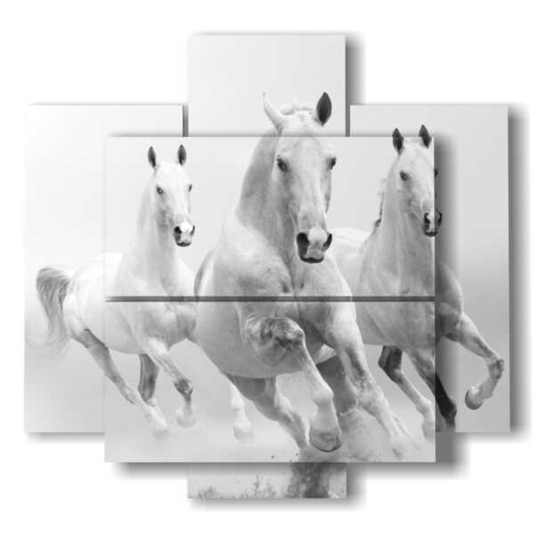 cuadro con caballos blancos entrantes