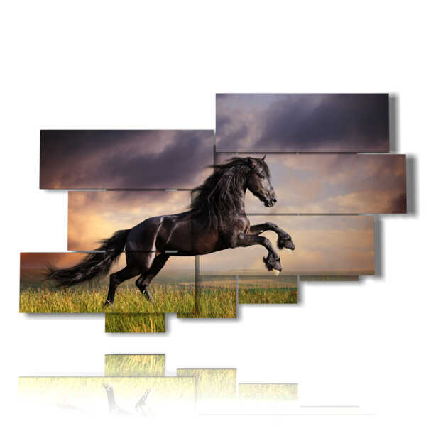paintings prints blacks horses in a field at sunset