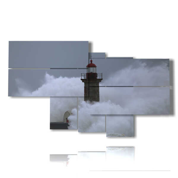 paintings lighthouse in a stormy sea