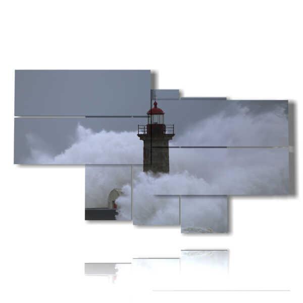 tableaux phare dans une mer orageuse