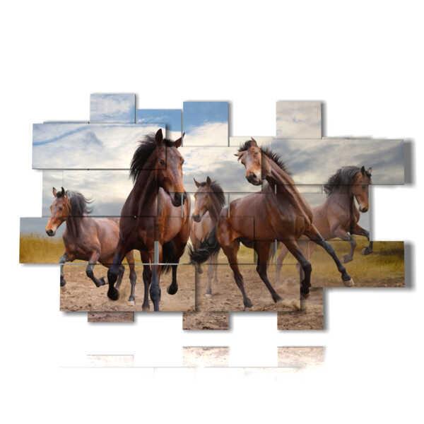 tableaux sur des chevaux brun toile
