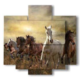 quadro su tela cavalli al tramonto
