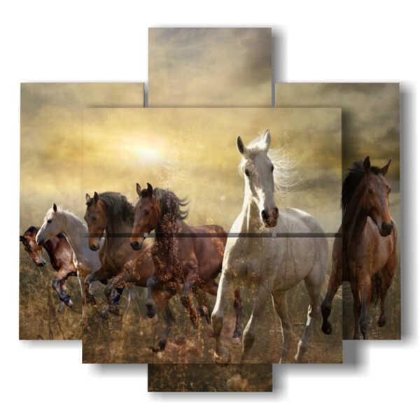 sur des chevaux de toile au coucher du soleil