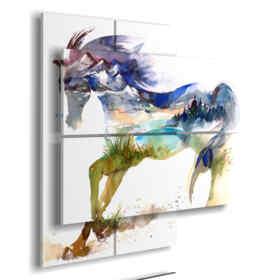 Caballos azules cuadro de la fantasía del paisaje